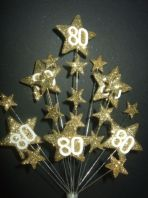 Star age 80th birthday cake topper decoration all in gold - free postage